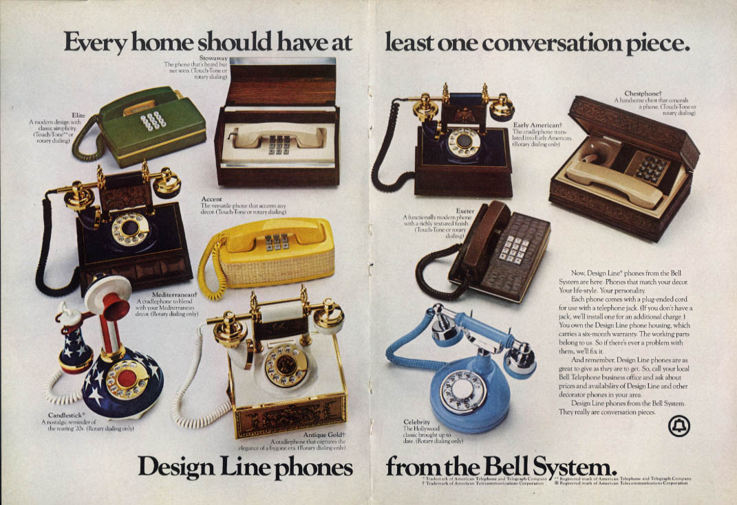 Design Line conversation piece phones from the Bell System ad 1975 NY