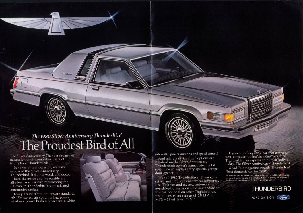 Image for Proudest Bird of All Silver Anniversary Thunderbird ad 1980 NY