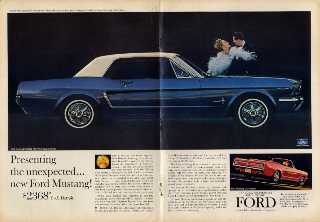 Presenting the unexpected - new Ford Mustang $2368 ad 1964 T