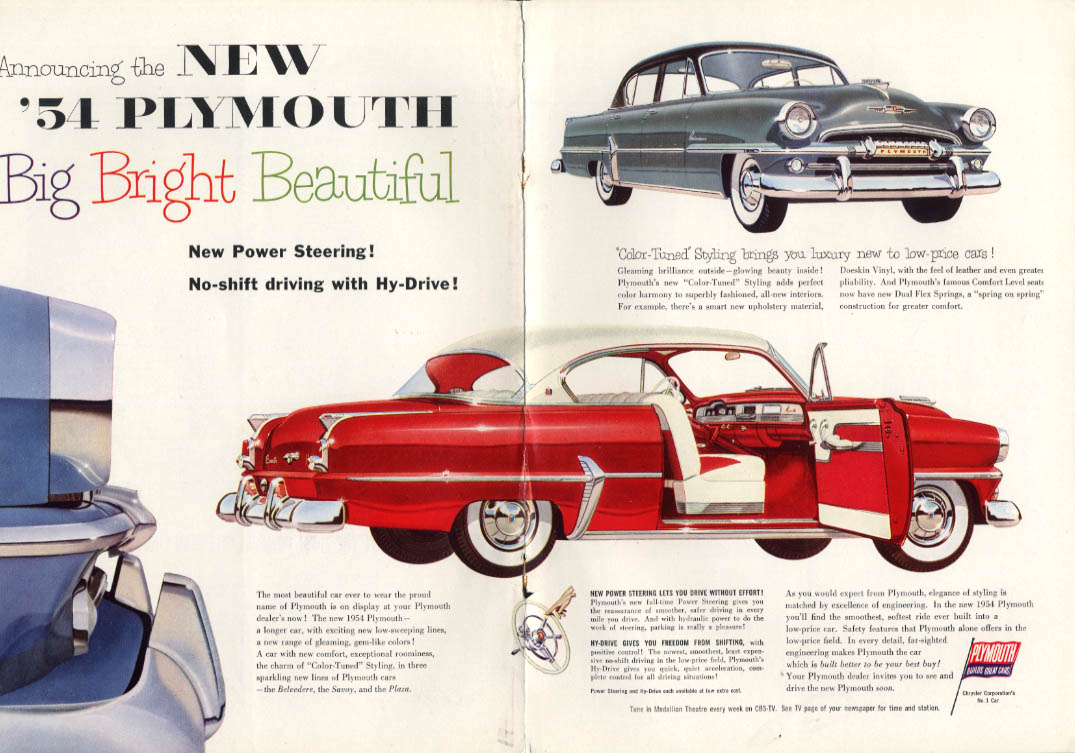 Big Bright Beautiful Plymouth Belvedere Coup & Sedan ad 1954 NY