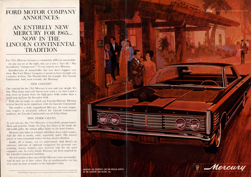 An entriely new Mercury in the Lincoln Continental Tradition ad 1965 NY