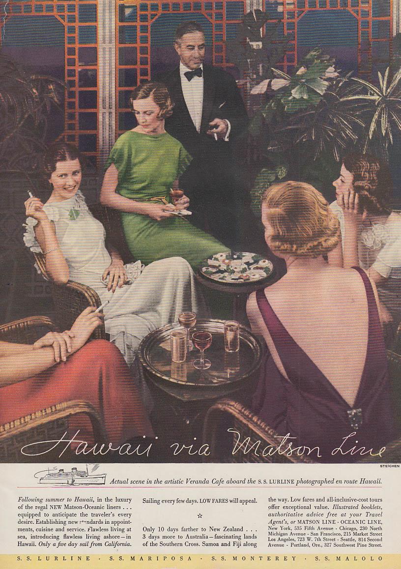 Hawaii via Matson Line S S Lurline ad 1935 Steichen photo Am