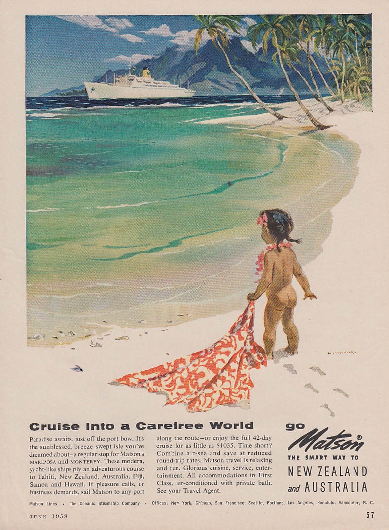 Cruise into a Carefree World Matson Line to South Pacific ad 1958 bare bottom