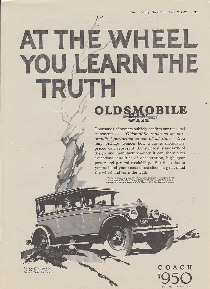 At the wheel you learn the truth Oldsmobile Six ad 1926 LD