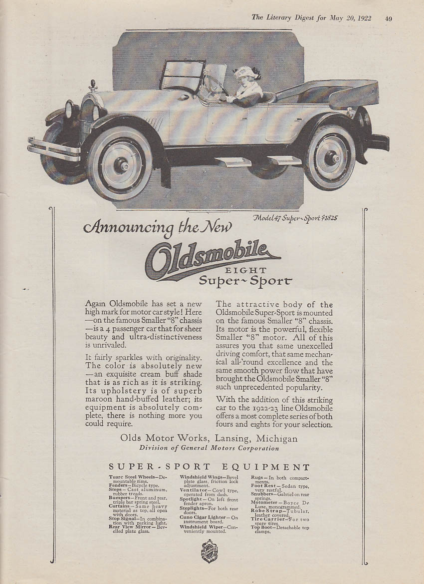 Announcing the new Oldsmobile Model 47 8 Super-Sport ad 1922 LD