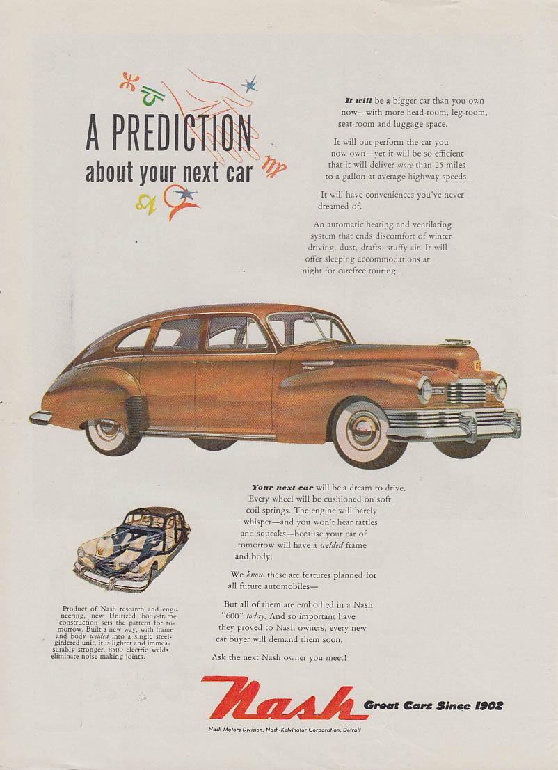 A prediction about your next car - Nash Super 4-door sedan ad 1948 NW