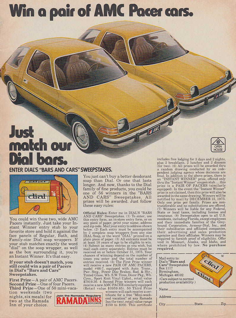 Win a pair of AMC Pacer cars - Dial Soap Bars & Cars Sweepstakes ad 1976