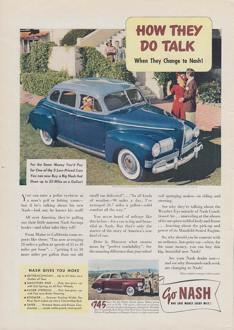 How they do talk when they change to Nash Deluxe Trunk Back Sedan ad 1941 T