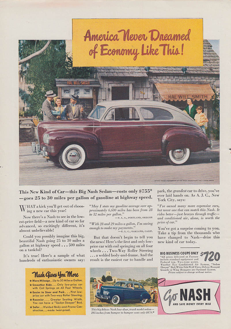America never dreamed of economy like this Nash Ambassador 600 ad 1941 T