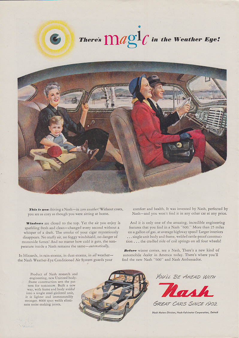 There's Magic in the Nash Weather Eye! Ad 1948 NW