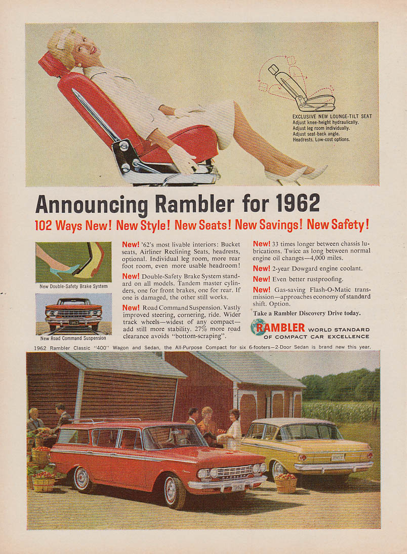 102 Ways New! Style Seats Savings Safety! Nash Rambler ad 1962 NW