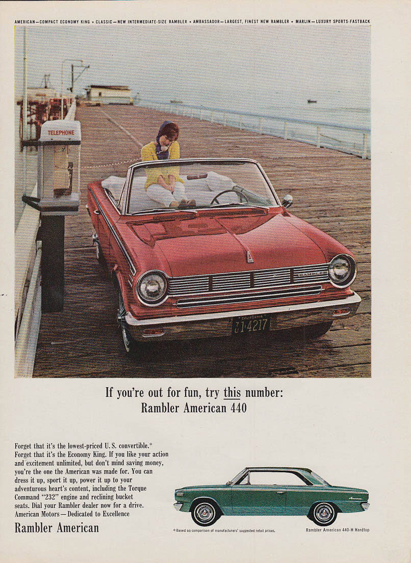 If you're out for fun try this Rambler American 440 Convertible ad 1965