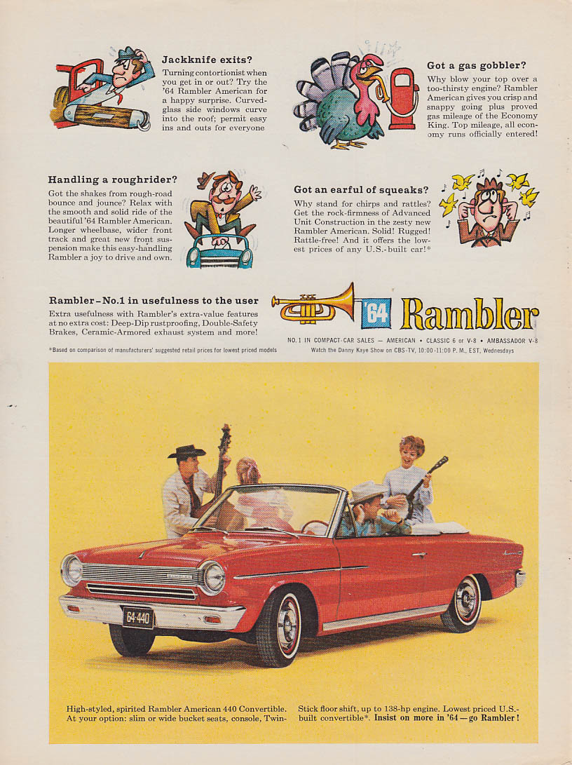 No. 1 in usefulness to the user - AMC Rambler American 440 Convertible ad 1964