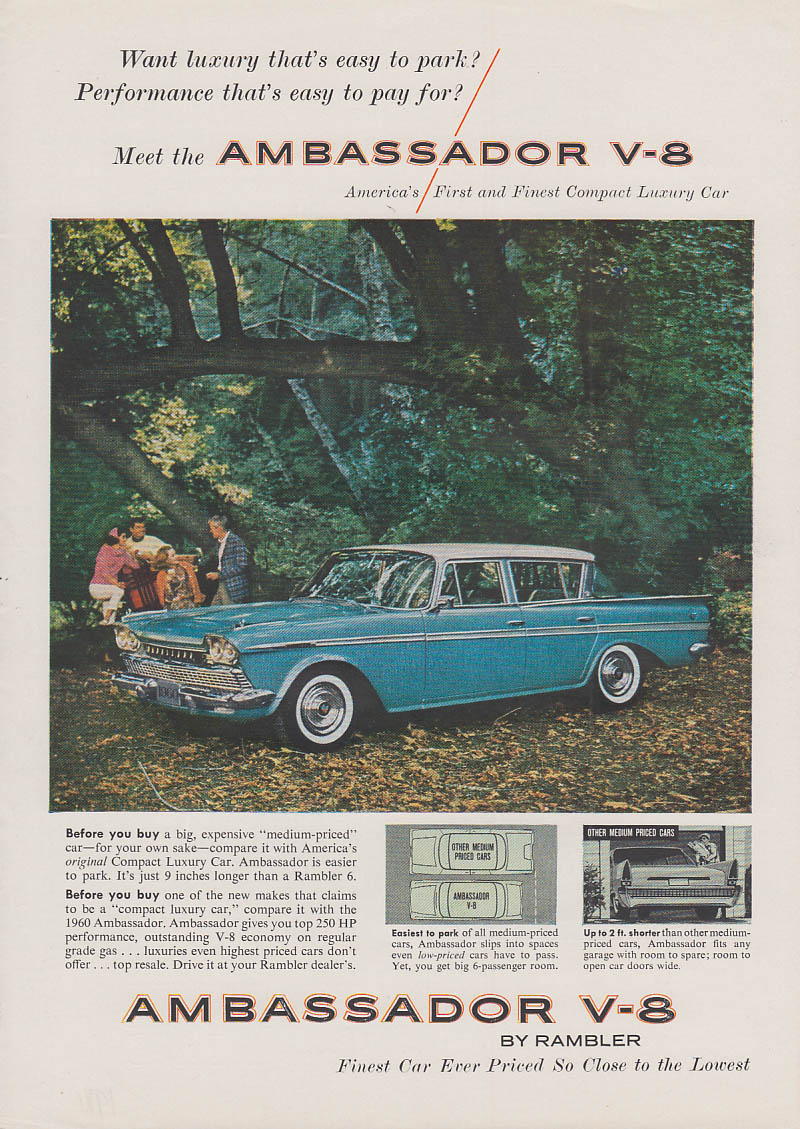 Want luxury that's easy to park? AMC Ambassador V-8 ad 1960 SI