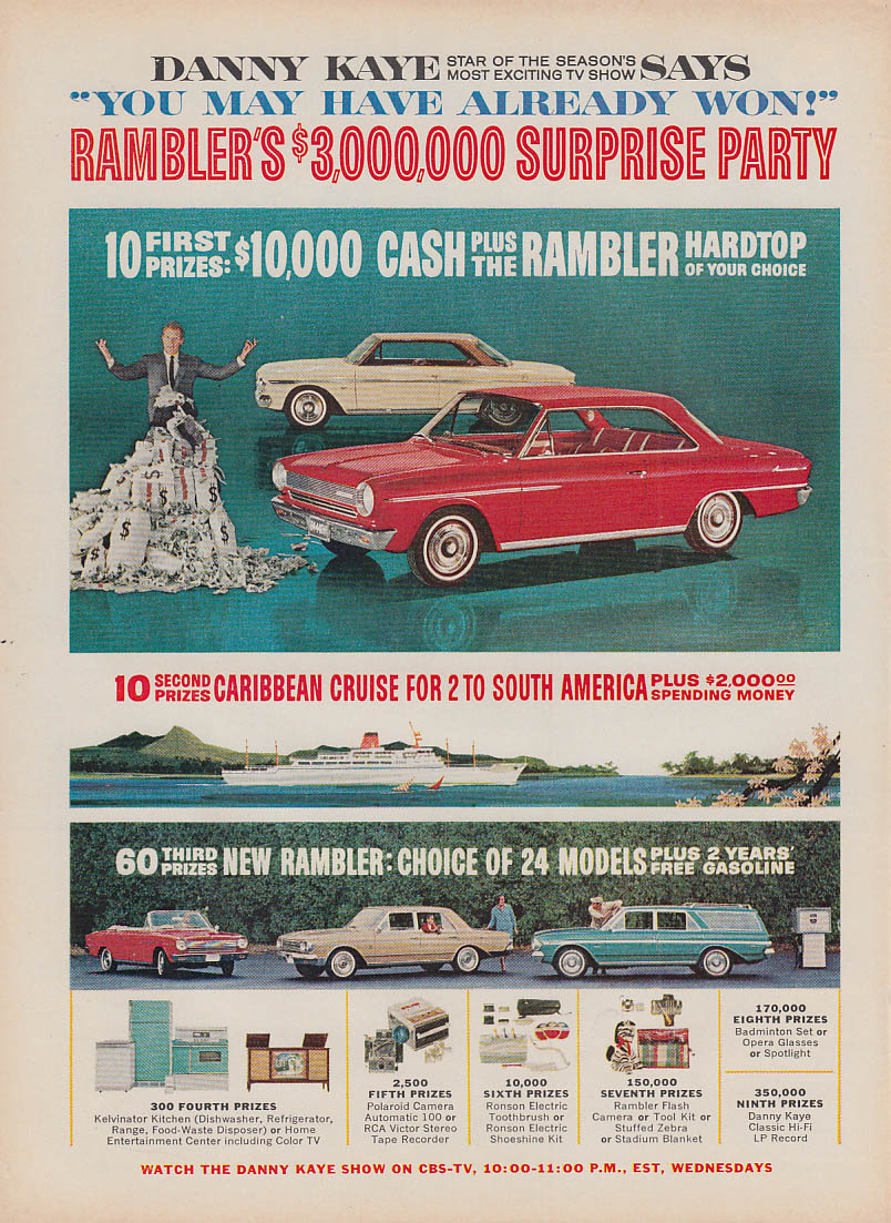 Image for Danny Kaye says You May Have Won! AMC Rambler contest ad 1964 T