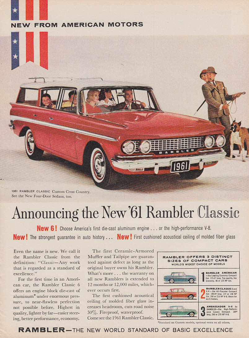Announcing the New AMC Rambler Classic Custom Cross Country ad 1961 NW