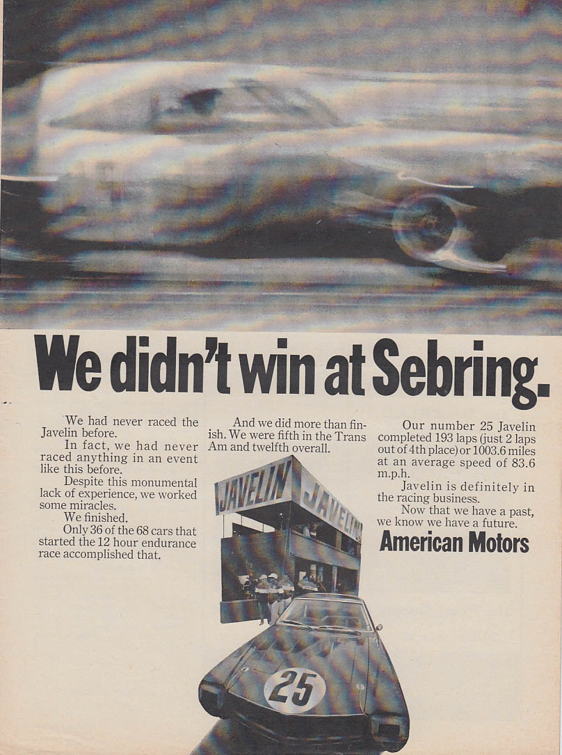 Image for We didnt win at Sebring - AMC Javelin ad 1968 C&D