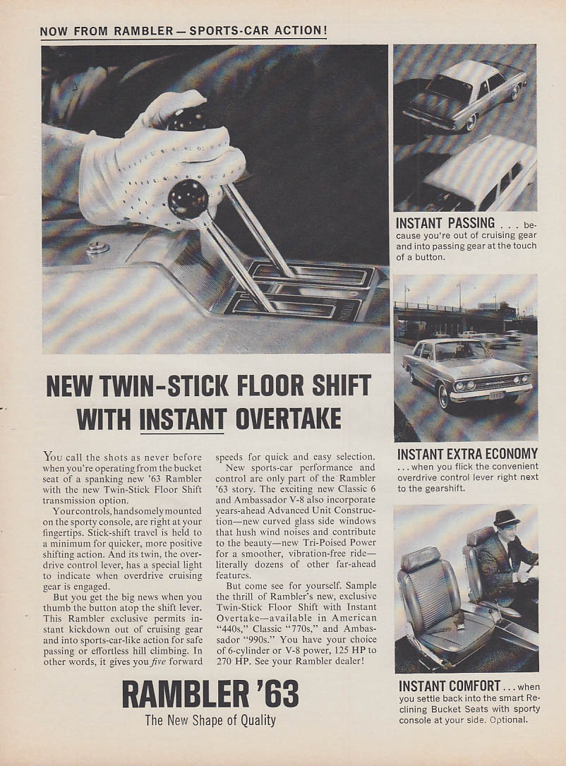 New Twin-Stick Floor Shift with Instant Overtake AMC Rambler ad 1963 MT