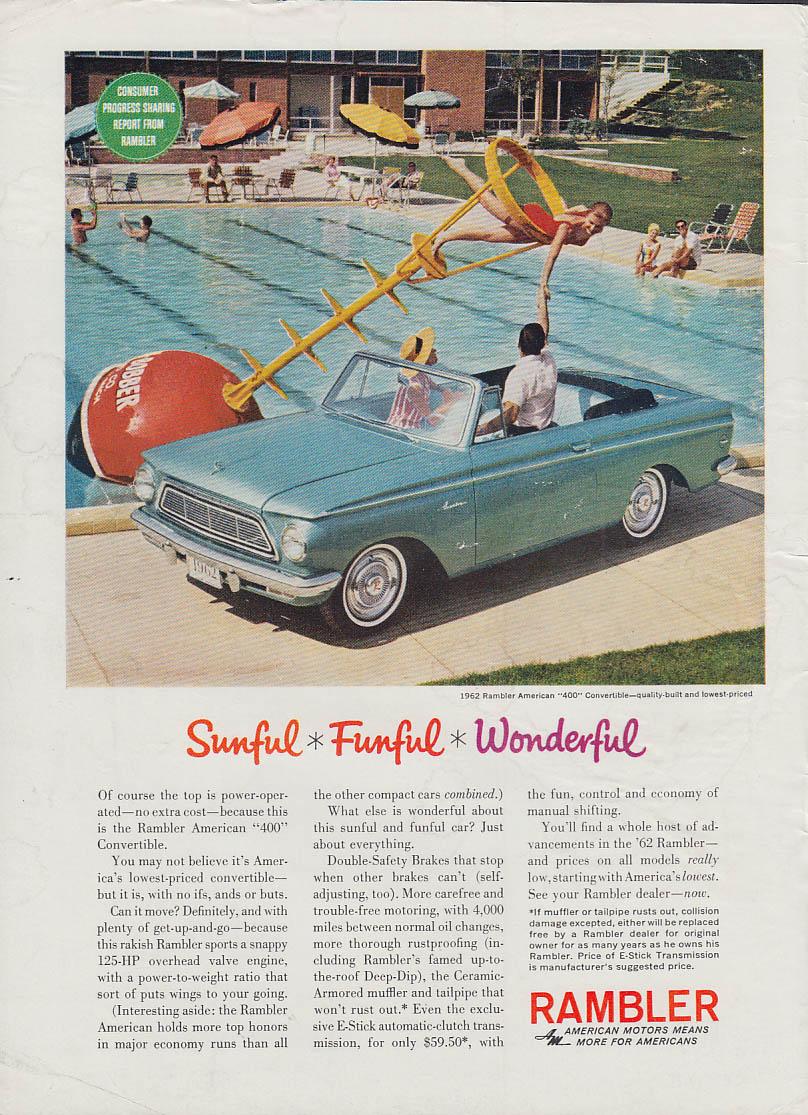 Sunful - Funful - Wonderful - AMC Rambler American 400 Convertible ad 1962 SI