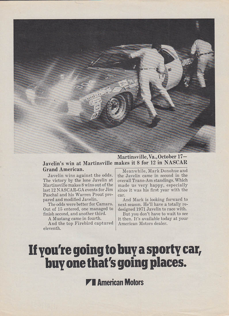 AMC Javelin wins NASCAR Grand American at Martinsville ad 1971 SI