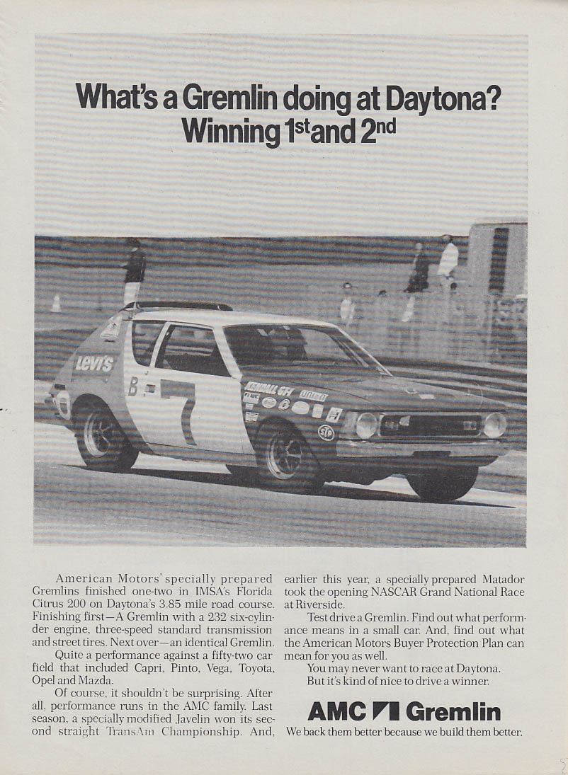 What's a Gremlin doing at Daytona? Winning 1st & 2nd - AMC Gremlin ad 1973 SI