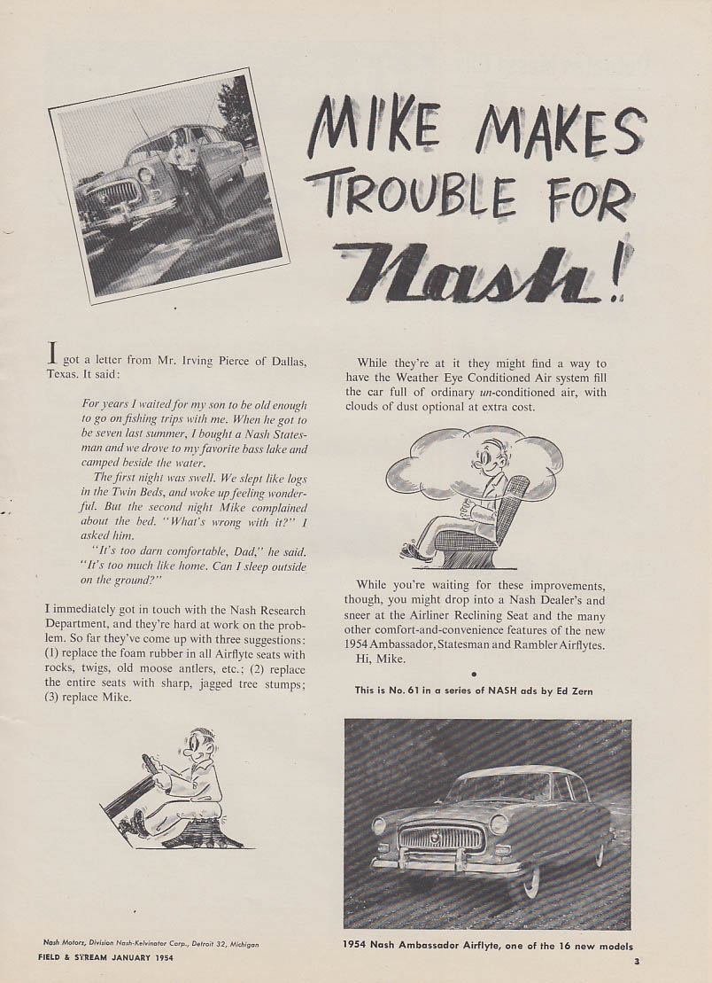 Mike makes trouble for Nash Ambassador ad 1954 Ed Zern cartoon F&S