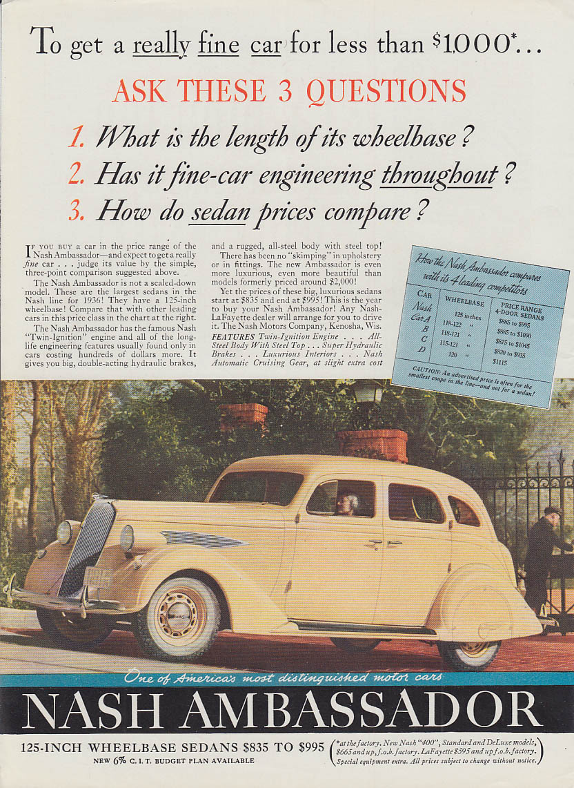 Ask these three questions - Nash Ambassador 4-door sedan ad 1936 T