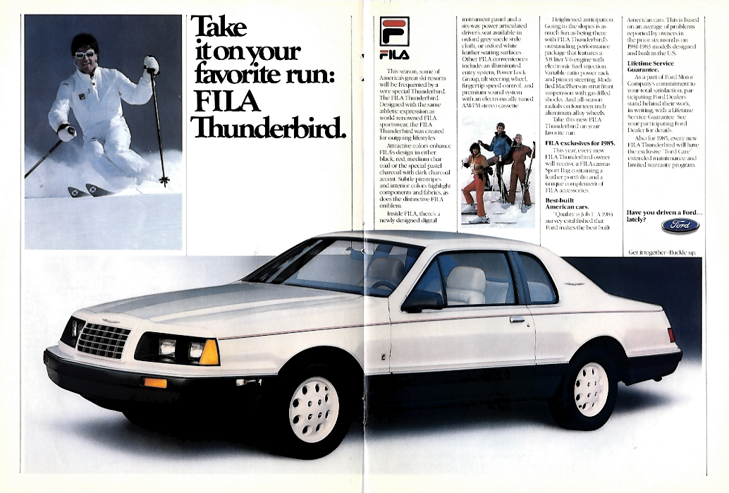 Image for Take it on your favorite run FILA Ford Thunderbird ad 1984