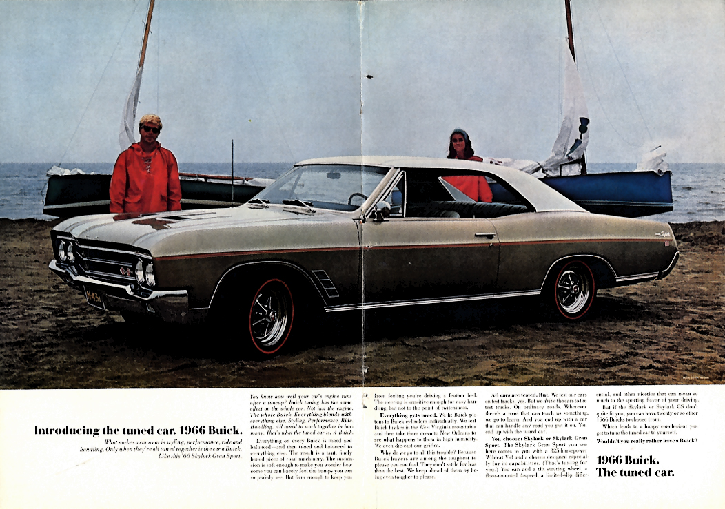 Introducing the tuned car. Buick Skylark Gran Sport ad 1966 NY