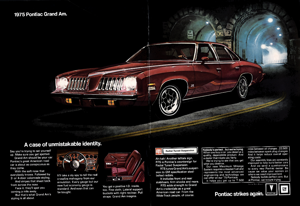 A case of unmistakable identity Pontiac Grand Am ad 1975 NY