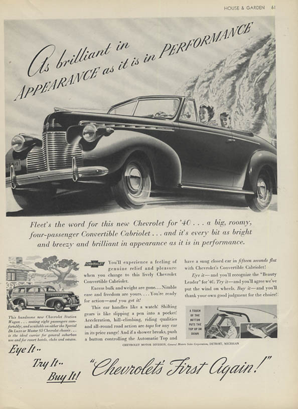As brilliant in appearance & performance Chevrolet Convertible & Wagon ad 1940 G