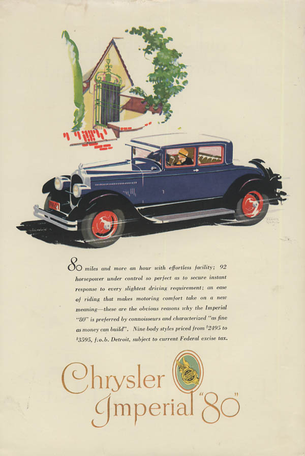 80 miles & more an hour with effortless facility Chrysler Imperial 80 ad 1927 CL