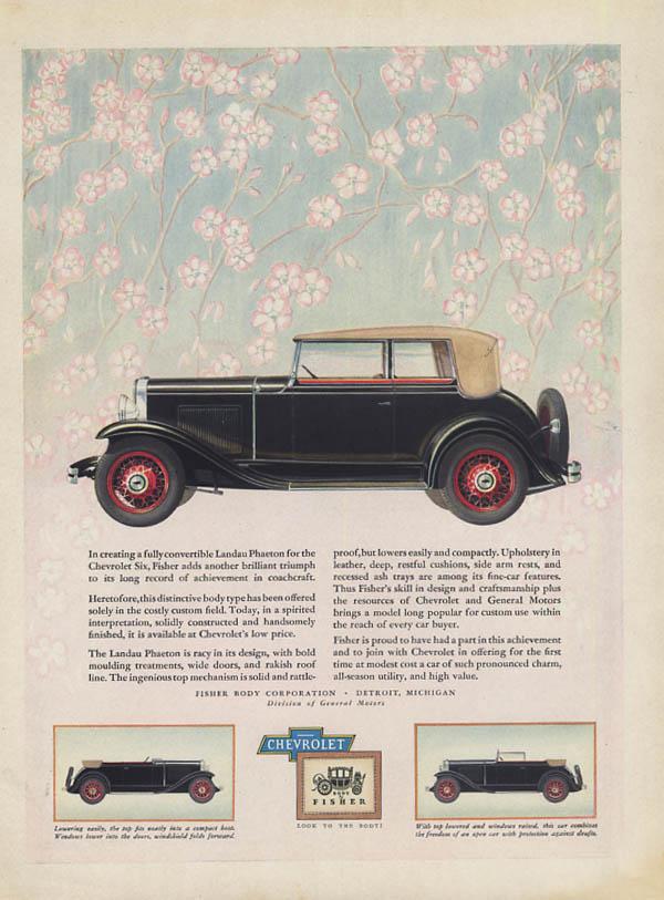Chevrolet fully convertible Landau Phaeton ad 1931 H&G