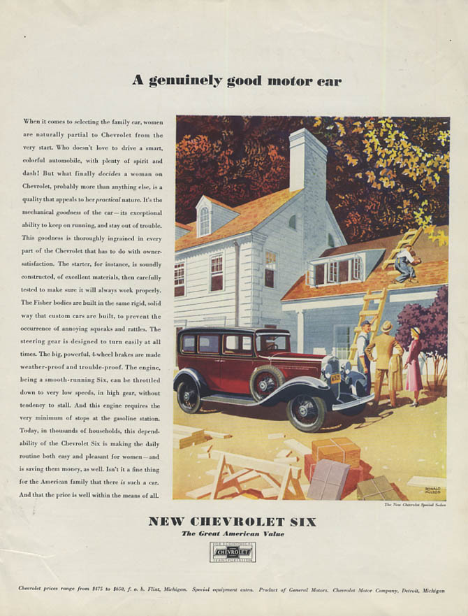 A genuinely good motor car - Chevrolet Six Special Sedan ad 1931 WHC
