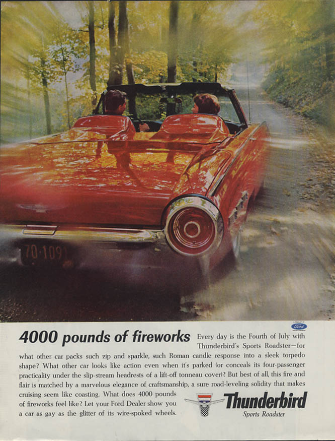 4000 pounds of fireworks Ford Thunderbird Sports Roadster ad 1962 H