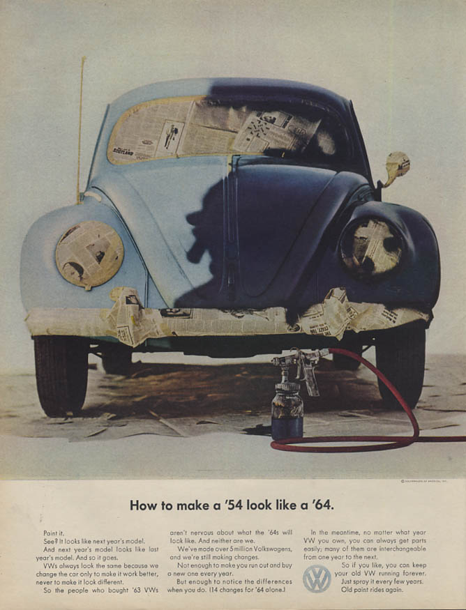 How to make a '54 look like a '64 Volkswagen ad 1964 L
