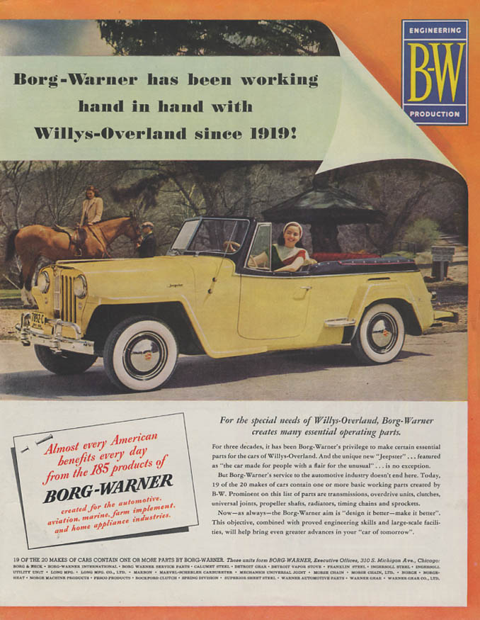 Borg-Warner has been working with Willys Jeepster ad 1949 Col