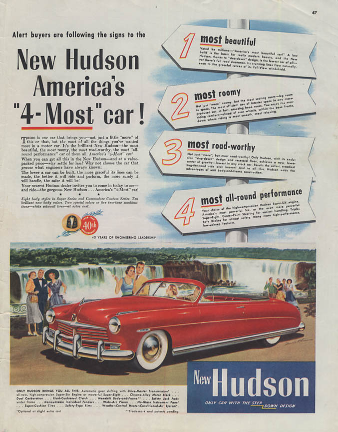 America's 4-Most Car! Hudson Convertible ad 1949 Col