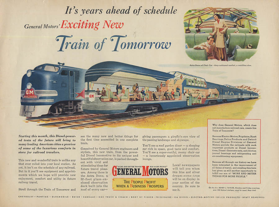 It's years ahead of schedule General Motors Train of Tomorrow ad 1947 L