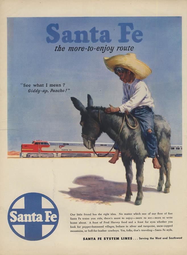 Giddy-ap Pancho! Santa Fe Railroad / Budweiser Beer Champion Gold Cup ad 1947