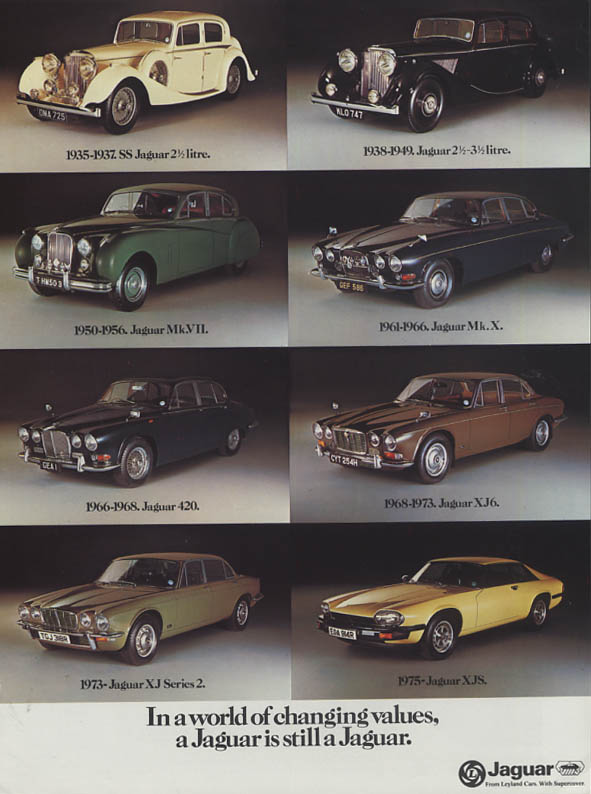 In a world of changing values a Jaguar is still a Jaguar ad 1977 XJS XJ