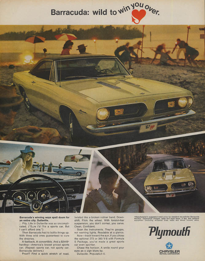 Doom for an entire city - Dullsville Plymouth Barracuda ad 1967 LK