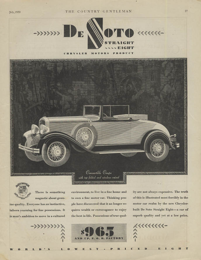 Something magnetic . . . De Soto Convertible Coupe ad 1930 CG