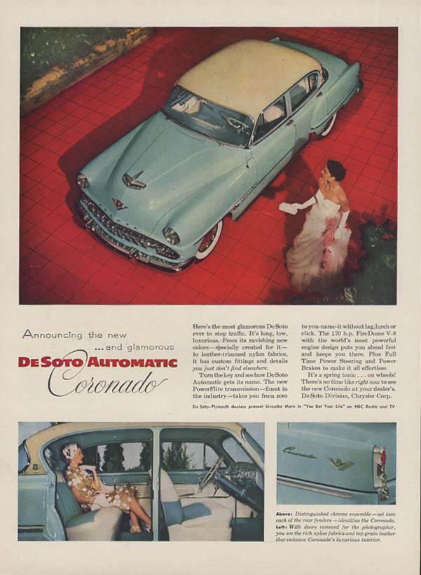 Announcing the new & glamorous De Soto Automatic Coronado ad 1954 H&G
