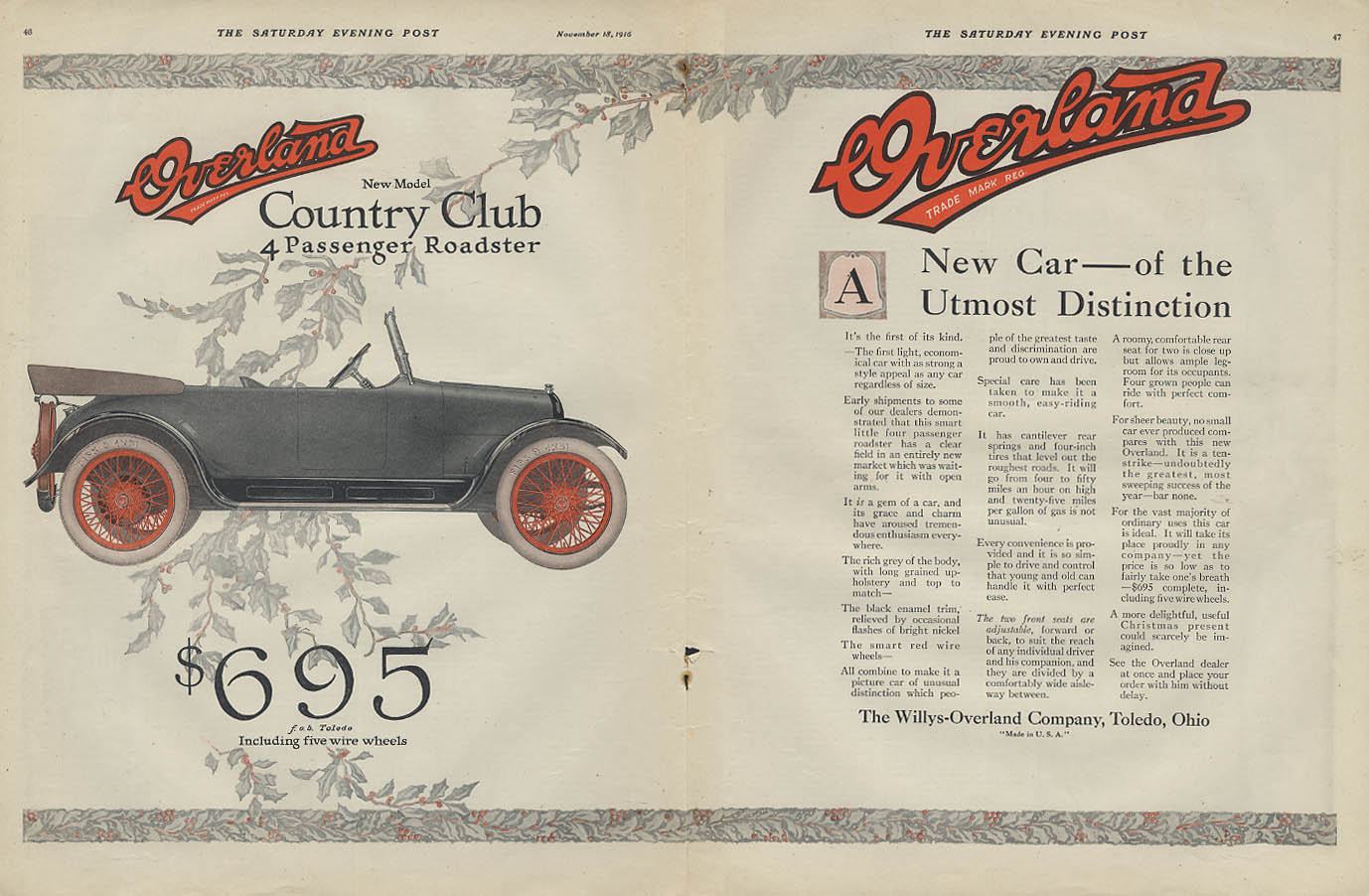 A New Car of the Utmost Distinction Overland Country Club Roadster ad 1917