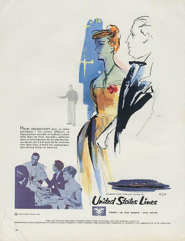 Heure eblouissante dans un cadre pretigeux! S S United States ad 1961 French