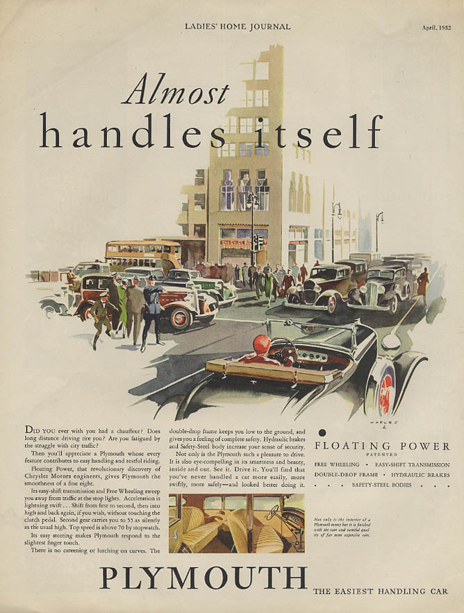 Almost handles itself Plymouth Roadster ad 1932 LHJ