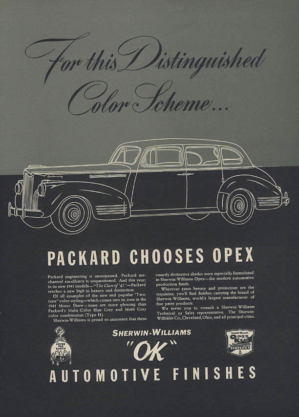 For this Distinguished Color Scheme Packard chooses Opex ad 1941 Mtr