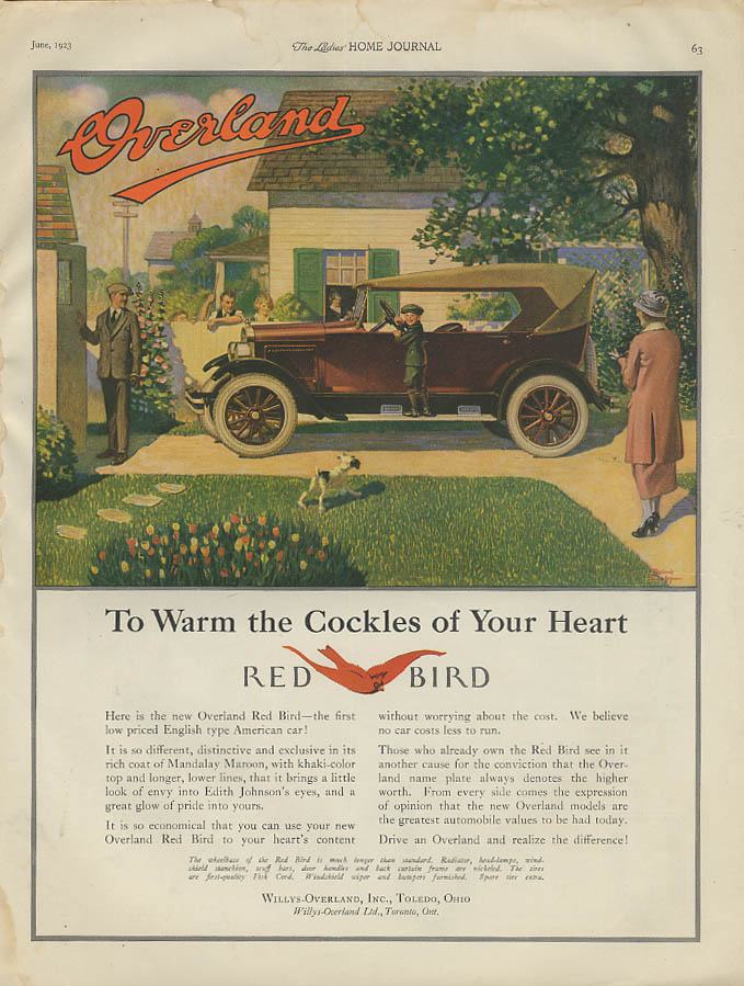 Image for To Warm the Cockles of Your Heart - Overland Red Bird ad 1923 LHJ