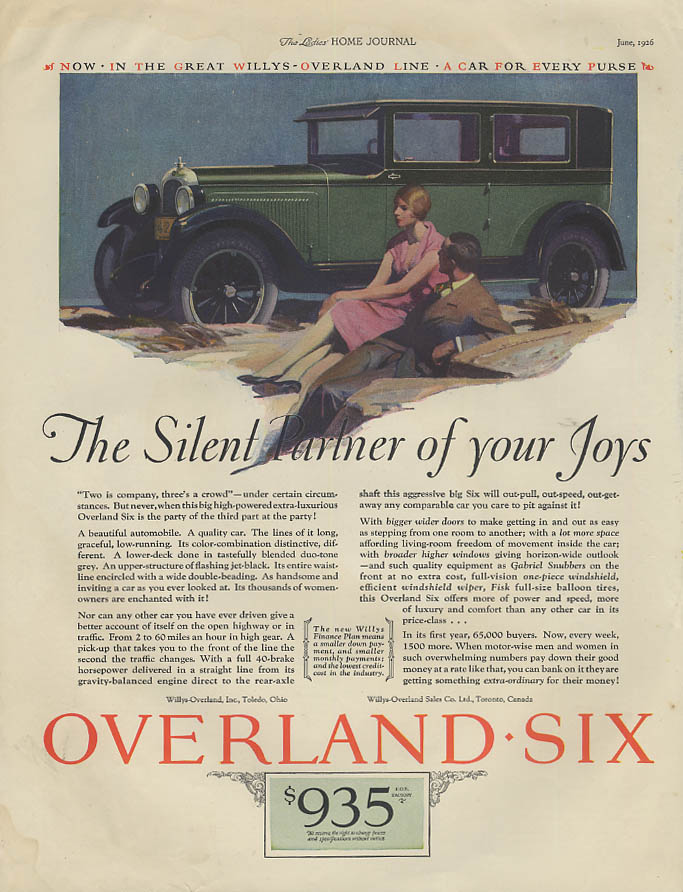 Image for The Silent Partner of Your Joys - Overland Six ad 1926 LHJ